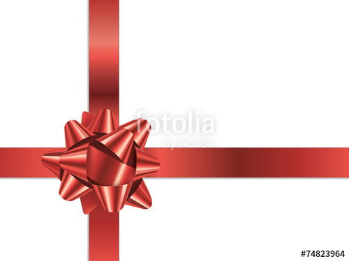 500x375 Gift Bow (Vector Red Christmas Present Ribbon) Stock Image And