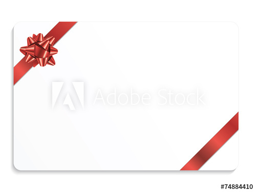 500x375 Gift Card With Bow (Vector Red Christmas Present Ribbon)