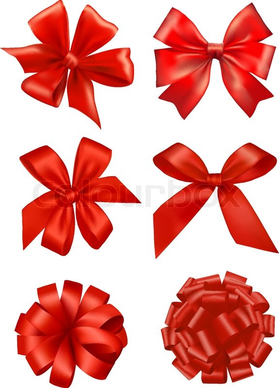 575x800 Big Set Of Red Gift Bows With Ribbons. Vector. Stock Vector