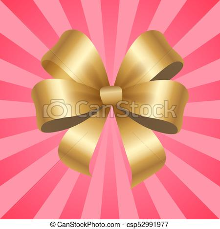 450x470 Gold Decorative Bow Vector Illustration Isolated. Gold Decorative