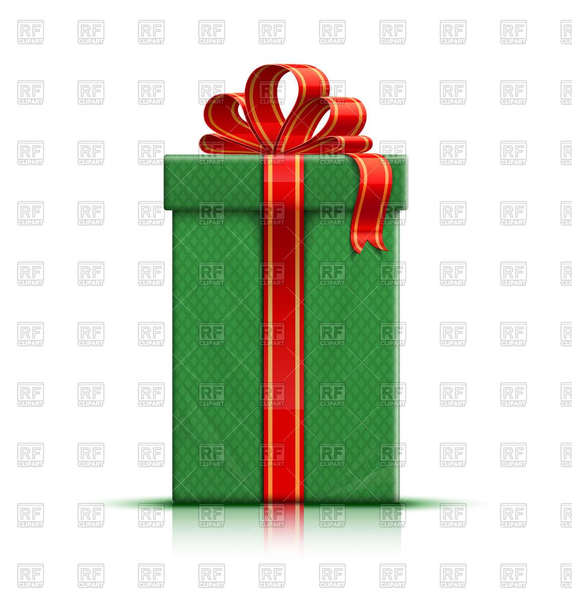 1137x1200 Green Gift Box With Ribbon And Bow Vector Image Vector Artwork