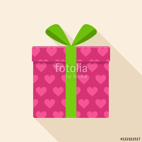 500x500 Pink Gift Or Present Box Icon With Green Ribbon And Bow Vector