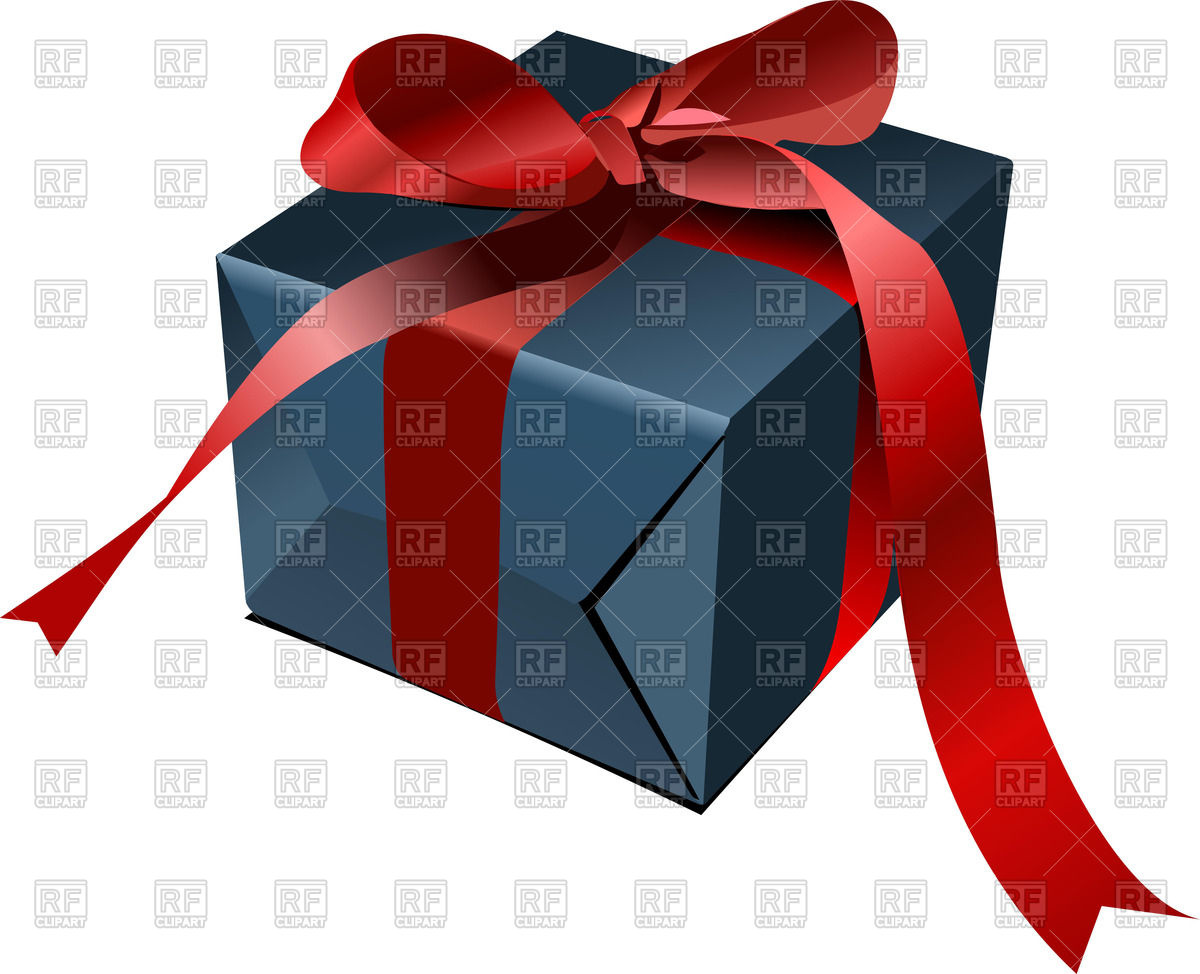 1200x974 Blue Gift Box With Red Bow Vector Image Vector Artwork Of