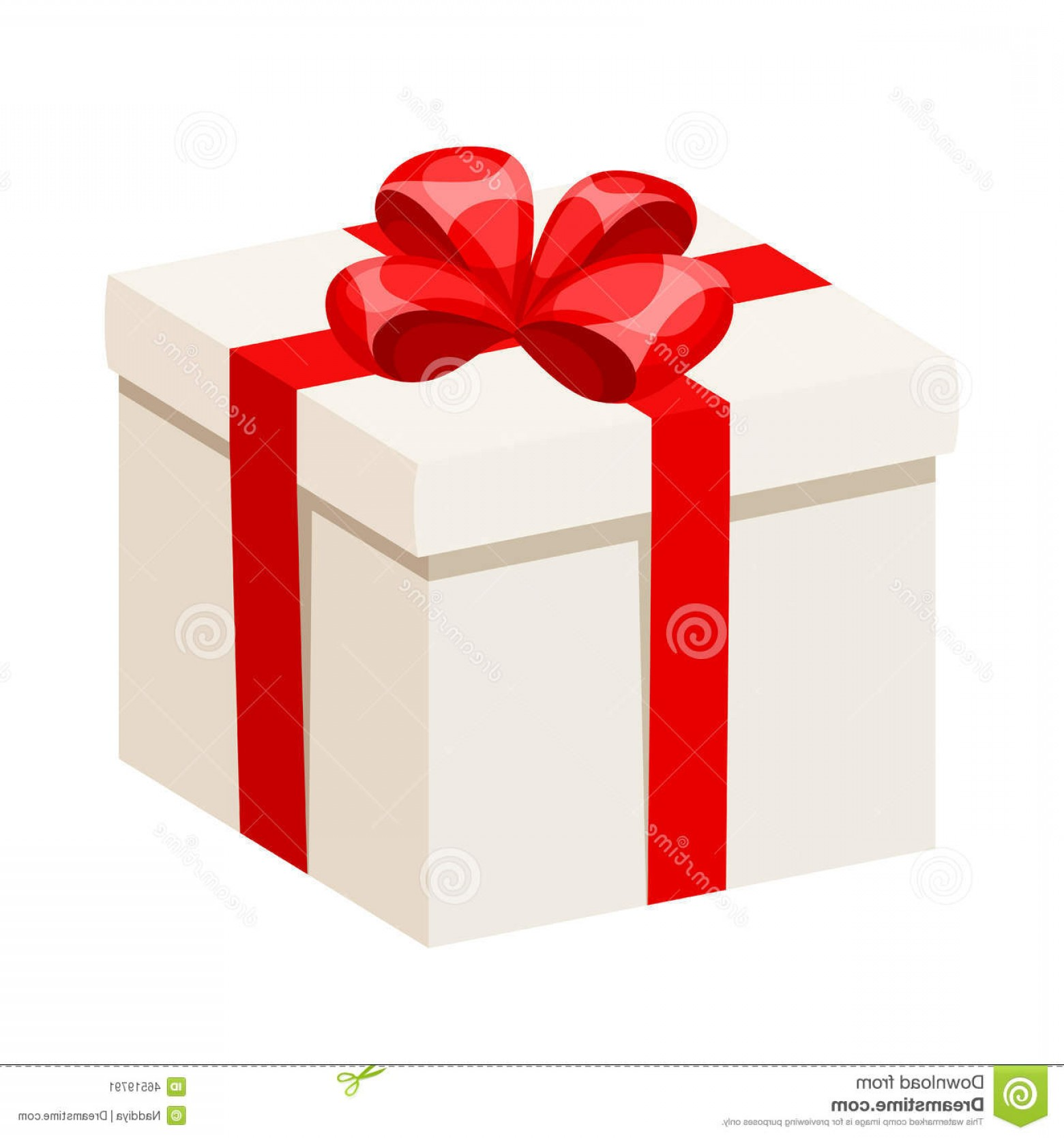 1560x1668 Stock Illustration White Gift Box Red Ribbon Bow Vector