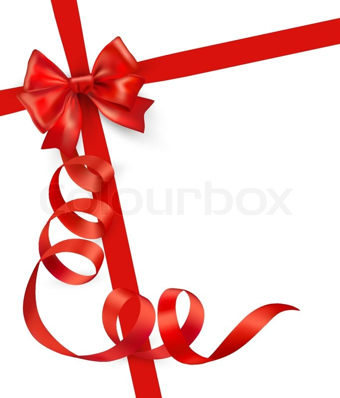 683x800 Card With Red Gift Bow With Ribbons Vector Stock Vector Colourbox