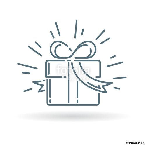 500x500 Christmas Gift Box Icon. Present Sign. Birthday Gift Symbol. Thin