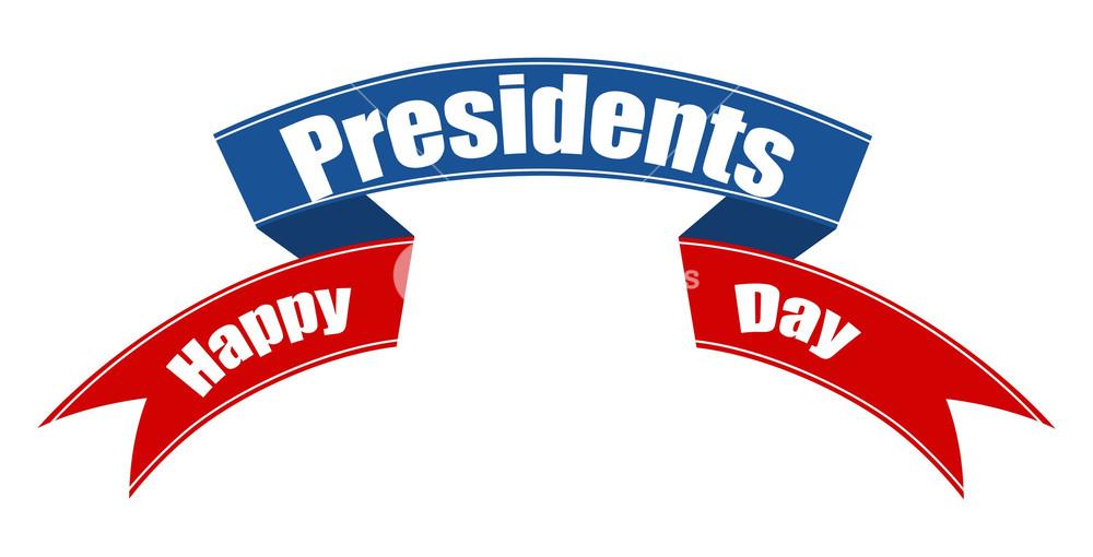 1000x510 Happy Presidents Day Vector Ribbon Banner Illustration Royalty