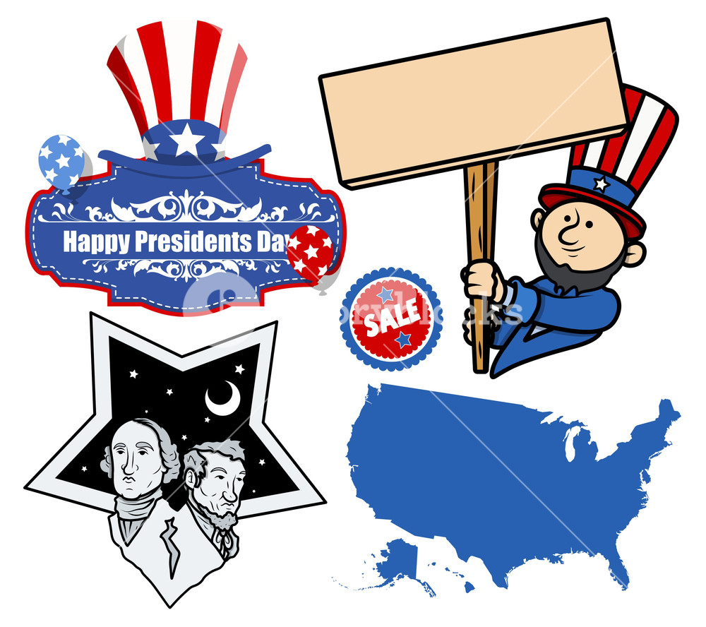 1000x888 United States Holidays Presidents Day Vector Set Royalty Free