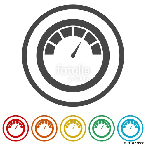 500x500 Pressure Gauge Icon, 6 Colors Included Stock Image And Royalty