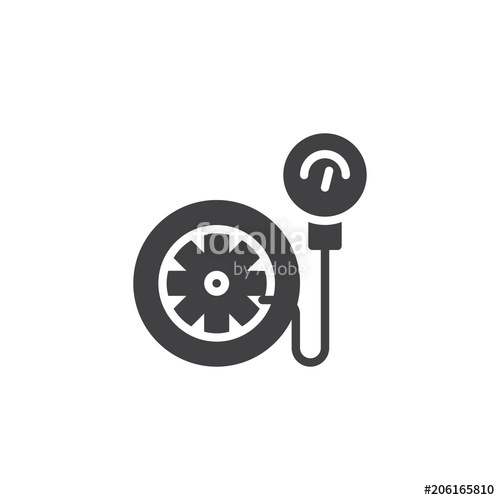 500x500 Tire Pressure Gauge Vector Icon. Filled Flat Sign For Mobile