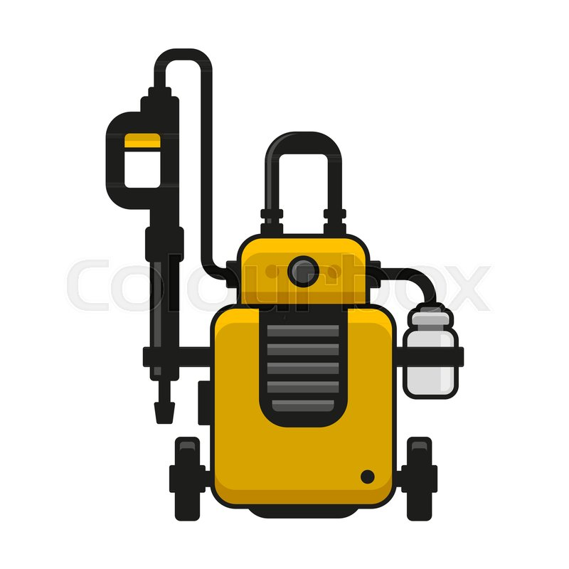 800x800 High Pressure Washer. Car Wash Machine. Vector Illustration