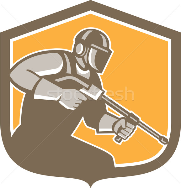 577x600 Pressure Washer Cleaner Worker Shield Retro Vector Illustration