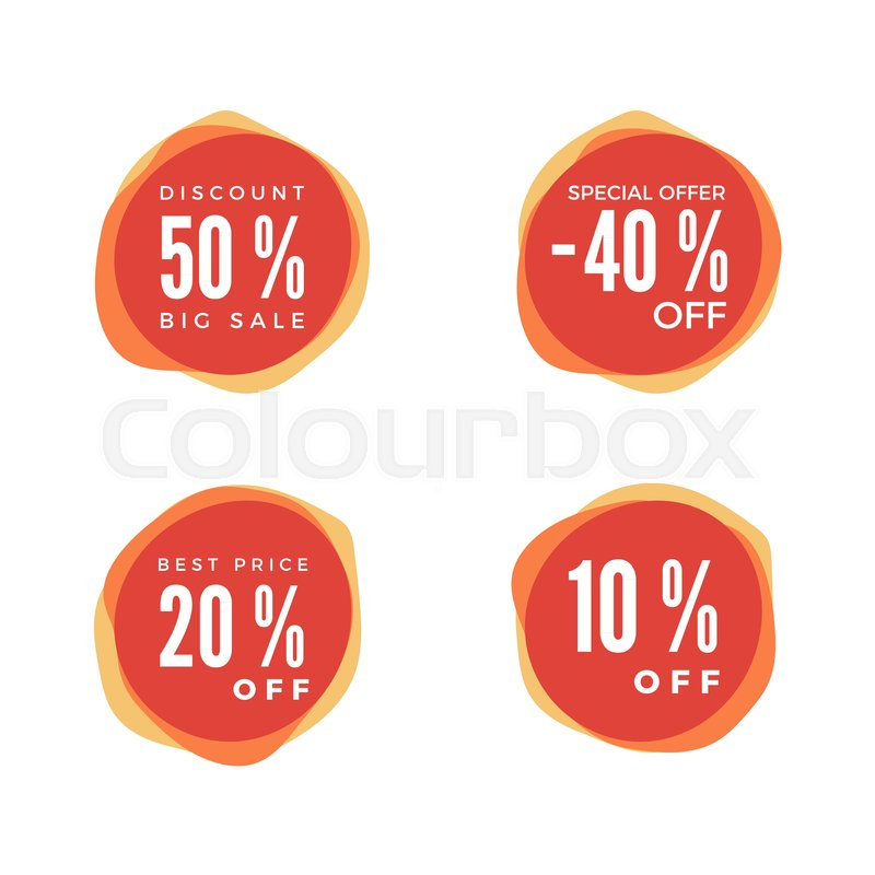 800x800 Discount Sticker Set. Sale Red Tag Isolated On White Background