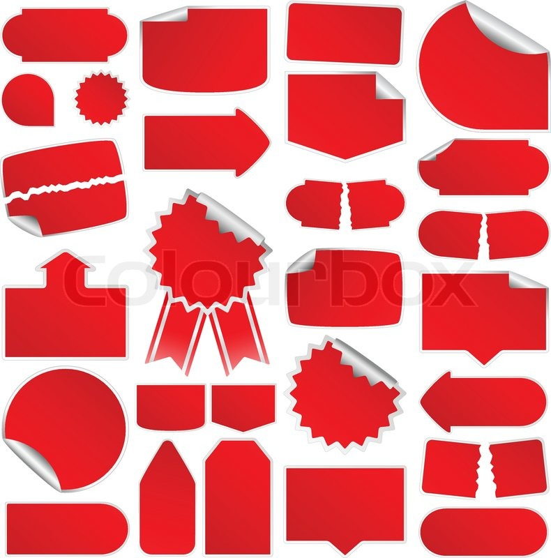 790x800 Set Of Red Vector Price Tags Stock Vector Colourbox