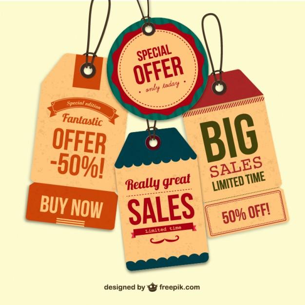 626x626 Retro Sales Tags Vector Free Download