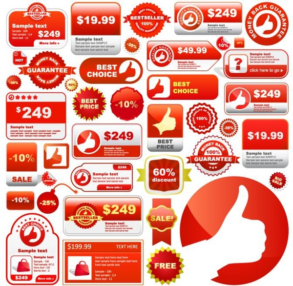 600x586 Sales Tags Collection Flat Shapes White Red Decor Free Vector In