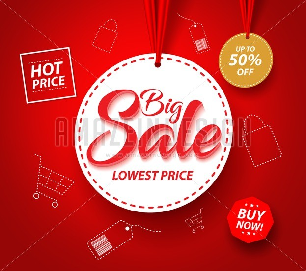 623x551 Big Sale Banner With Hanging Tag Price Vector