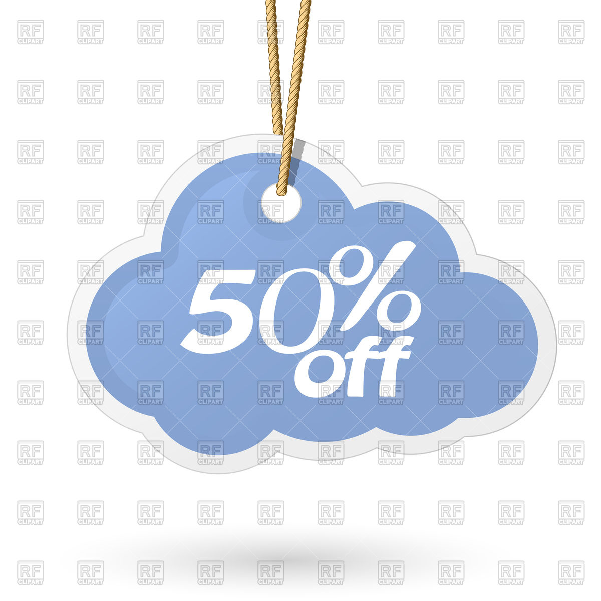 1200x1200 Cloud Shaped Price Tag Hanging On Rope Vector Image Vector