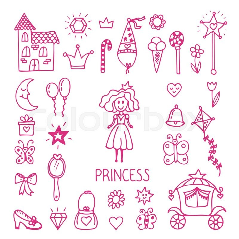 800x800 Hand Drawn Design Elements Of Little Princess. Sketchy Fairy Tale