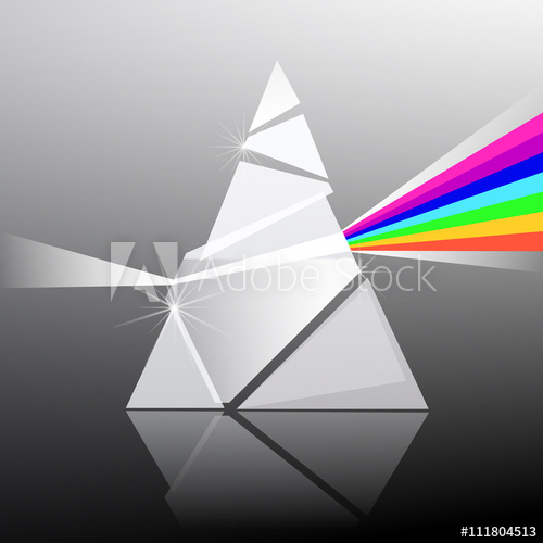 500x500 Prism Vector Illustration. Triangle Transparent Glass Shape With