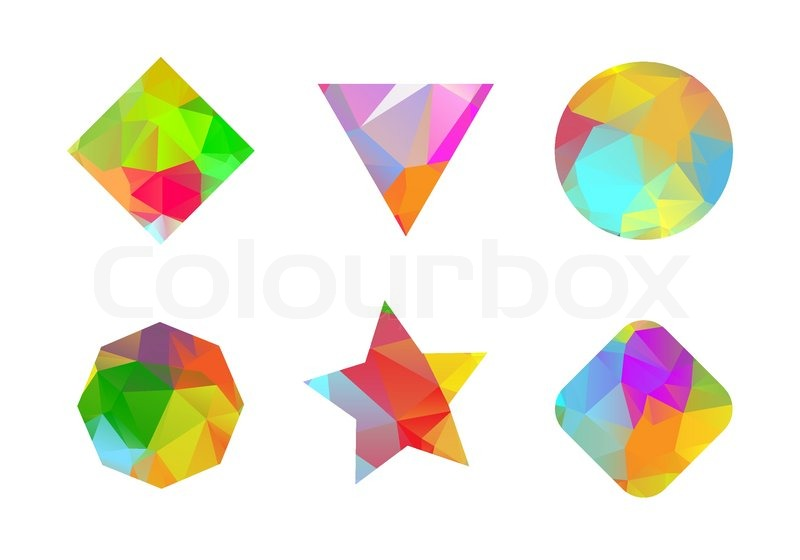 800x560 Set Of Colored Geometric Polygonal Shapes Stock Vector Colourbox