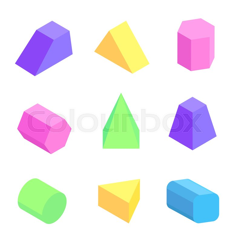773x800 Bright Geometric Figures Set, Vector Illustration With Colorful