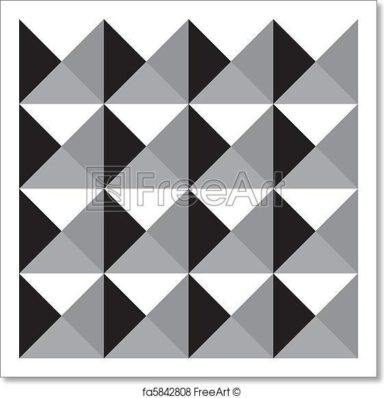 561x581 Free Art Print Of Seamless Grayscale Prism Pattern. Black White