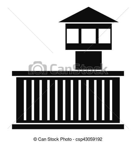 450x470 Prison Tower Icon, Simple Style. Prison Tower Icon. Simple