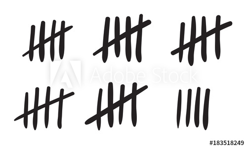500x300 Tally Marks Count Or Prison Wall Sticks Lines Counter. Vector Hash