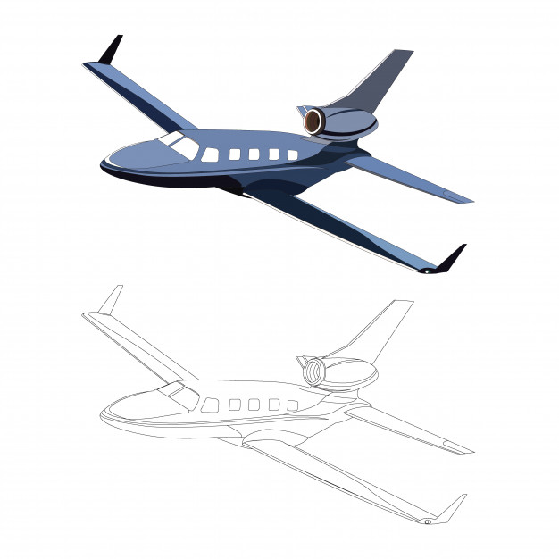 626x626 Detailed Side Of Blue Private Jet Airplane With Black Stroke
