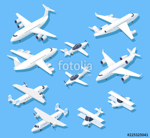 500x461 Isometric Planes. Private Jet Airplanes, Aircraft And Airliner. 3d