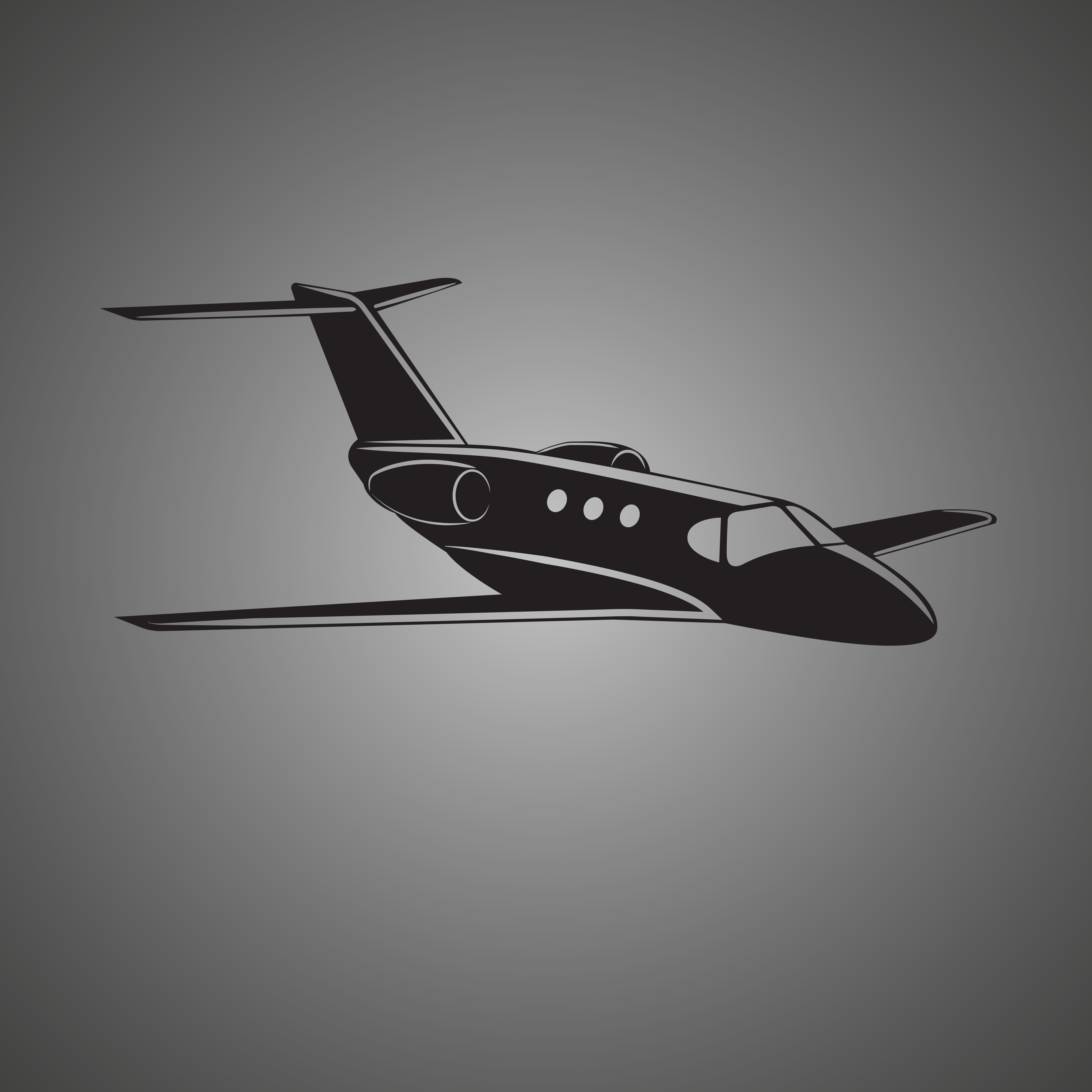 5000x5000 Private Jet Vector Icon. Business Jet Illustration. Flightstock
