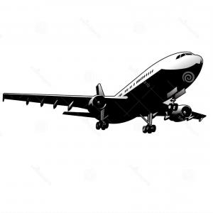 300x300 Silhouettes Of Private Jet Contours Of Airplanes Vector Clipart