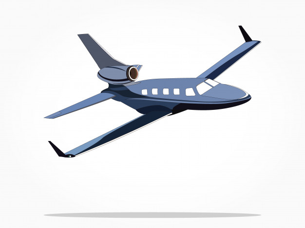 626x469 Blue Floating Private Jet Airplane Vector Premium Download