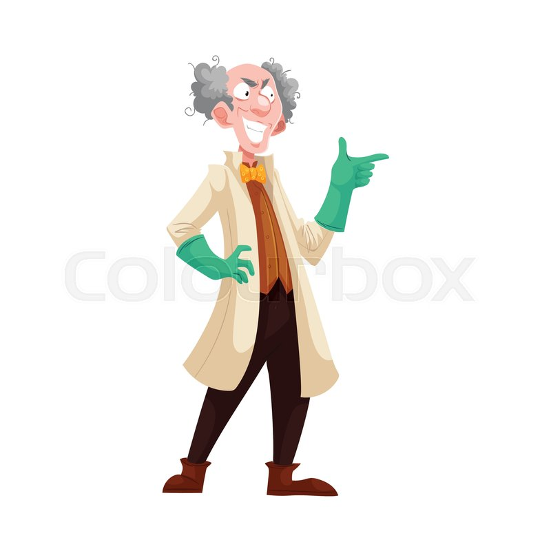 800x800 Mad Professor With Grey Bushy Hair In Lab Coat And Green Rubber