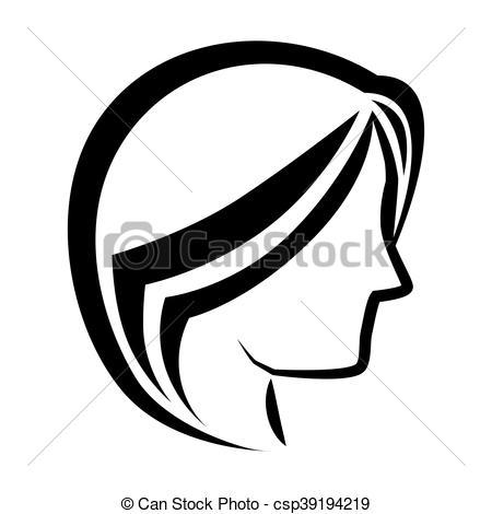 450x470 Woman Head Profile Icon Vector Illustration. Woman Head Profile
