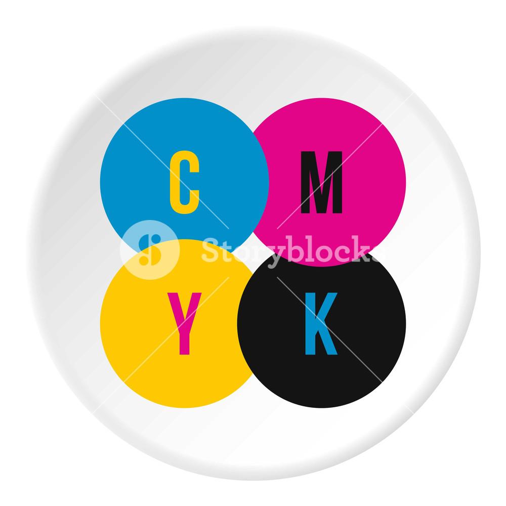 1000x1000 Cmyk Color Profile Icon. Flat Illustration Of Cmyk Color Profile