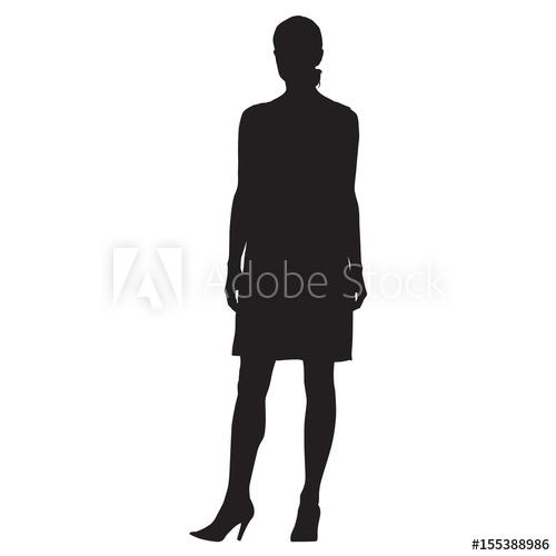 500x500 Standing Woman In High Heels Shoes, Formal Dress, Vector