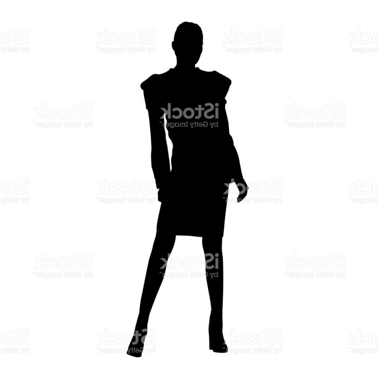 1228x1228 Business Woman Standing In Formal Dress Skirt And Jacket Isolated