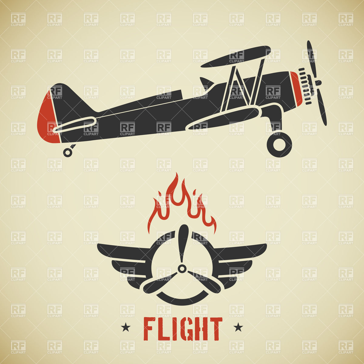 1200x1200 Retro Plane (Biplane) And Emblem With Wings And Propeller Vector