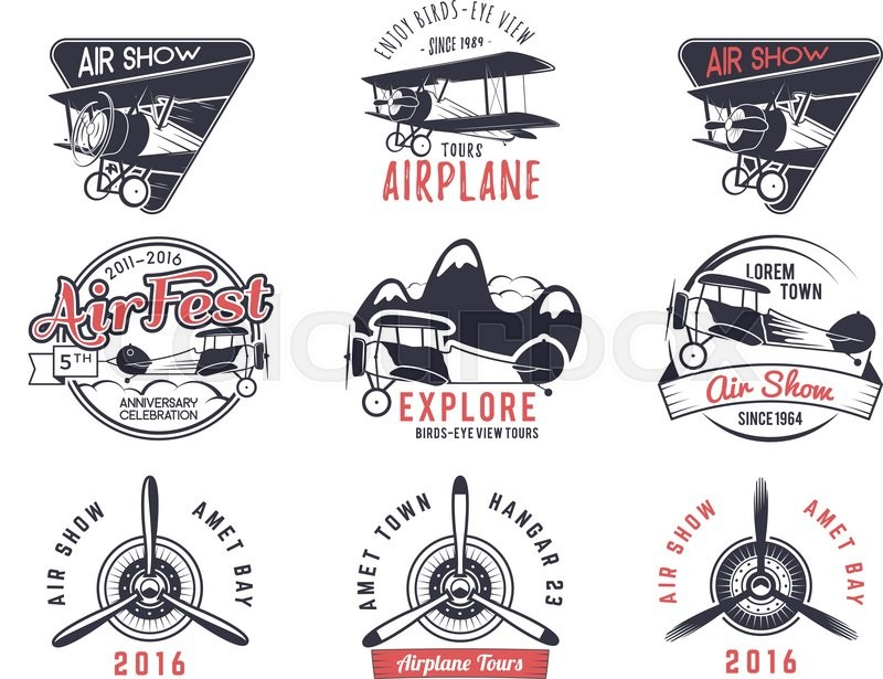 800x615 Vector Old Fly Stamps. Travel Or Business Airplane Tour Emblems
