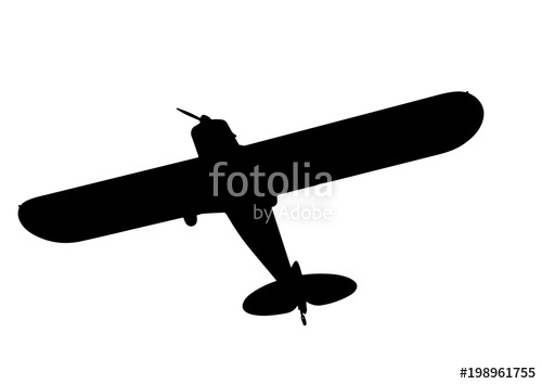 500x354 Silhouette Aircraft With Propeller Vector Stock Image And Royalty