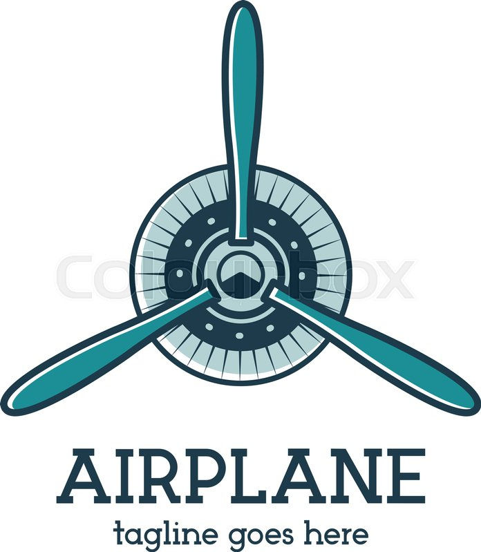 696x799 Airplane Propeller Logo Template With Radial Engine. Retro Plane