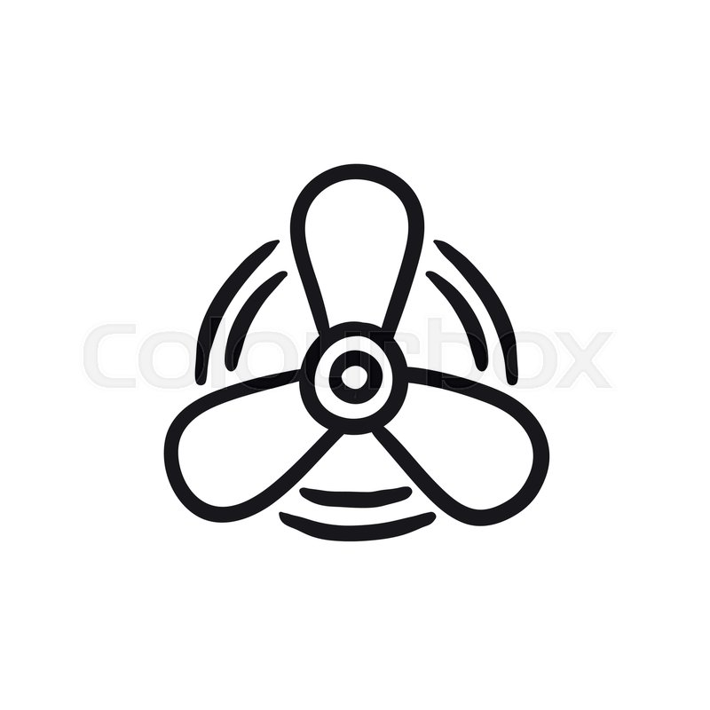 800x800 Boat Propeller Vector Sketch Icon Isolated On Background. Hand