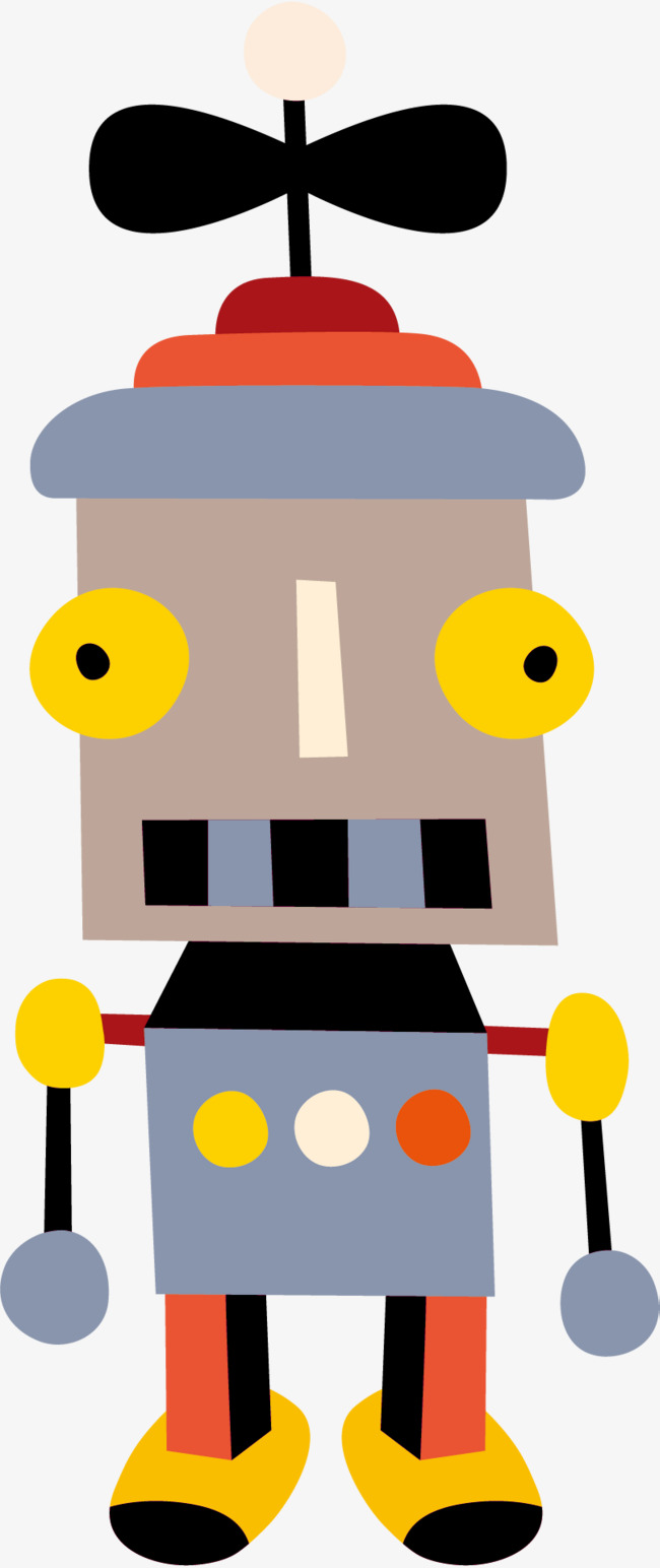 650x1544 Cartoon Propeller Vector, Cartoon Hand Drawing, High Tech, Robot