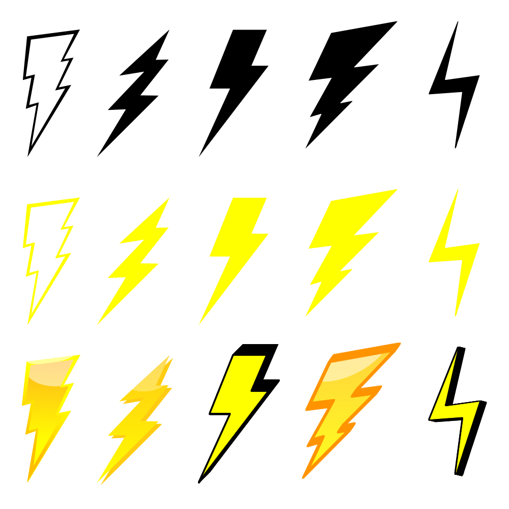 1000x1000 Free Lightning Bolt Graphics Pack