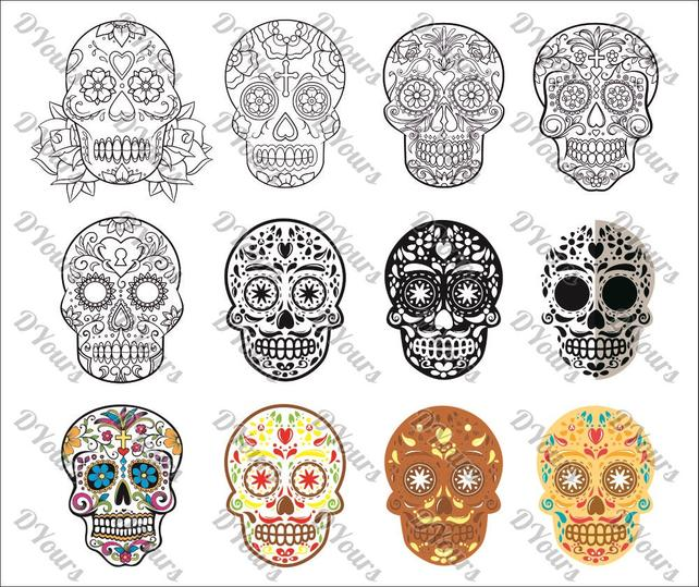 642x539 Sugar Skulls Pt.3 Mexican Day Of The Dead Skull 12 Vector Etsy
