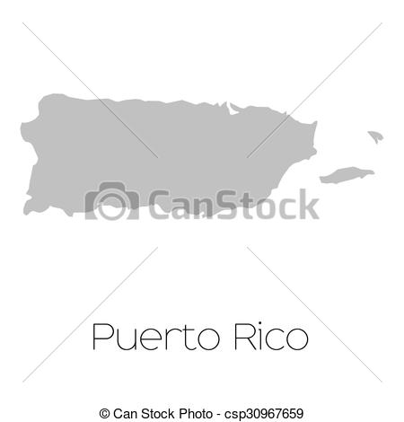 450x470 A Map Of The Country Of Puerto Rico.