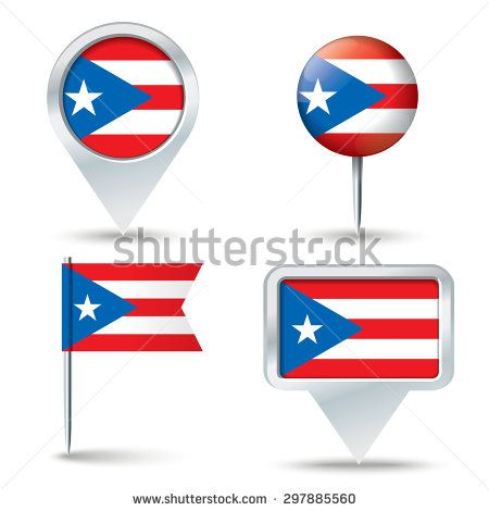 450x470 Map Pins With Flag Of Puerto Rico