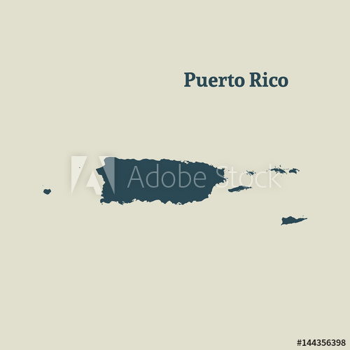 500x500 Outline Map Of Puerto Rico. Vector Illustration.